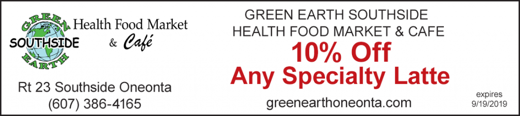 discount green earth southside 10% off special latte oneonta ny
