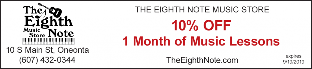 eighth note music discount 10% off 1 month music lessons oneonta ny
