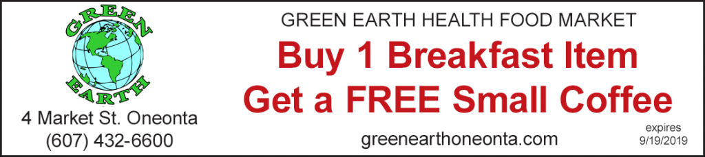 discount green earth buy 1 breakfast get free coffee oneonta ny
