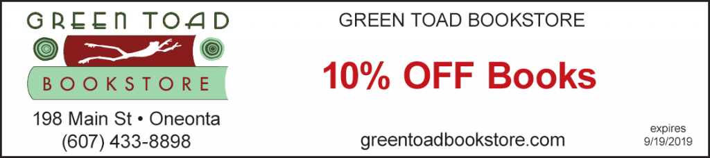 discount green toad bookstore 10% off books oneonta ny