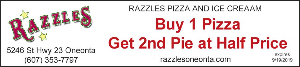Discount buy 1 pizza get 2nd half price